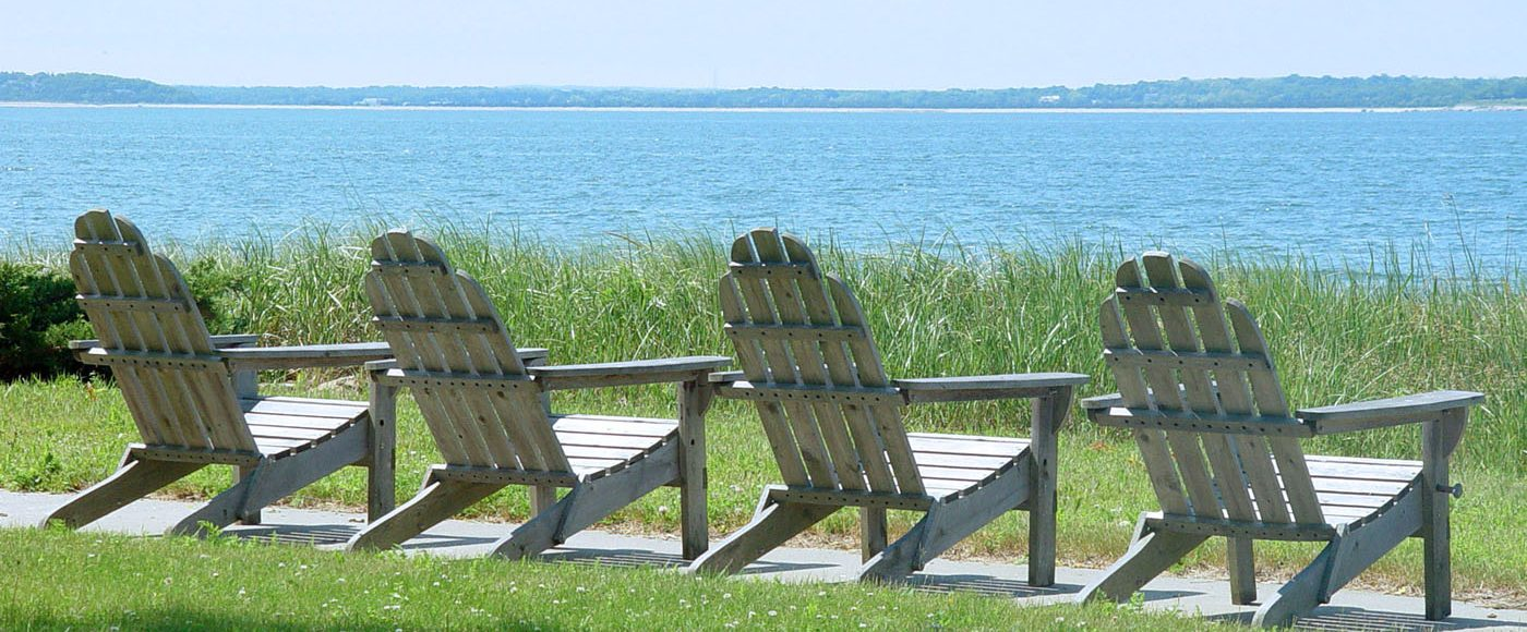 Lawn Chairs Overlooking the Peconic Bay Near The Harborfront Inn