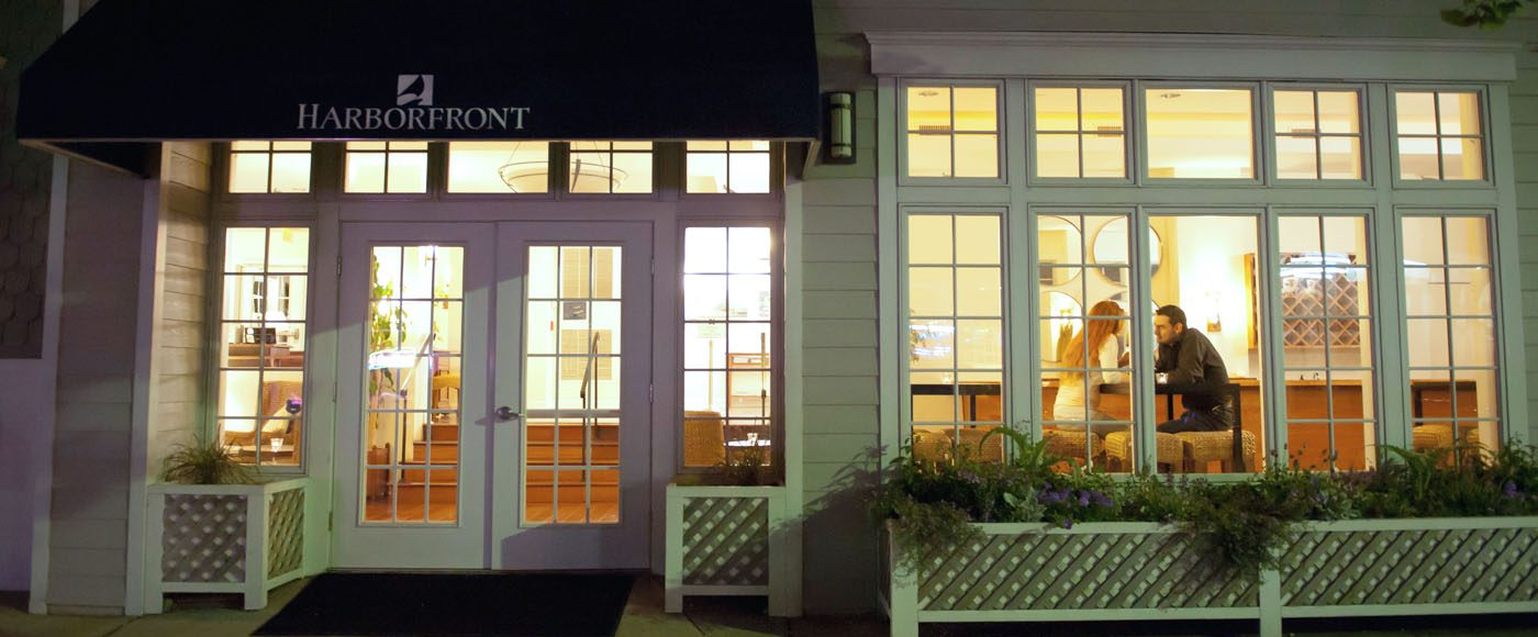 The Entrance to The Harborfront Inn at Night